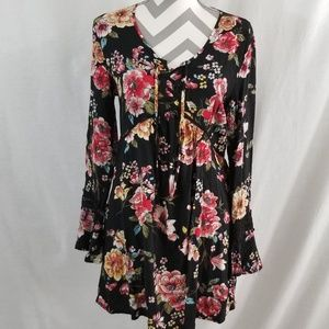 Floral Long Sleeve Boho Dress《Xhilaration》